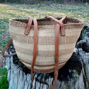 Woven Bag Leather Straps Real Vintage Wicker Tote